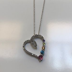JWBR Floating Heart Necklace 10K White gold